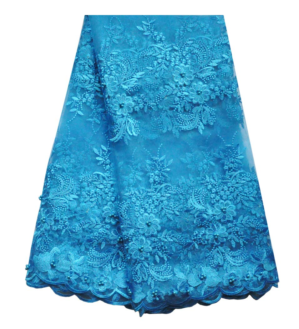 SanVera17 African Lace Net Fabrics Nigerian French Fabric Embroidered and Beading Guipure Cord Lace for Party Wedding (Blue) 5 Yards