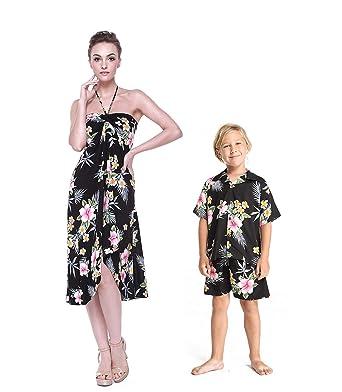 631e3a456011 Matching Mother Son Hawaiian Luau Outfit Dress Shirt in Hibiscus Black  Women S Boy 10