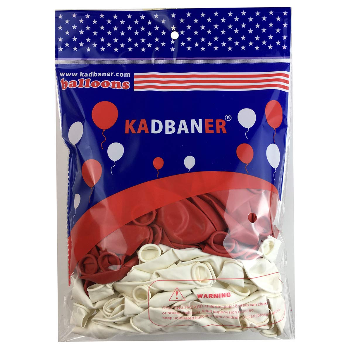 100 Premium Quality Balloons: 12 inch Red and white latex balloons/wedding/birthday party decorations and Events Christmas Party and etc. by KADBANER (Image #3)