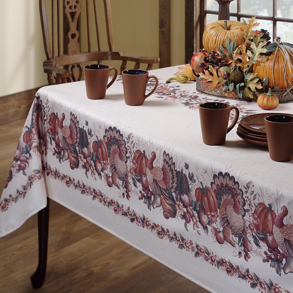 Benson Mills Thanksgiving Printed Fabric Tablecloth, 52-Inch-by-70-Inch 4981