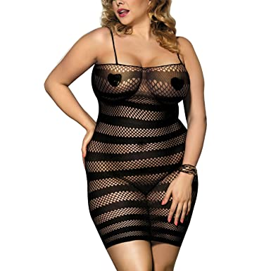 f99adc6a7940 Zerolove Fishnet Lingerie Women's Sexy Seamless Chemise Hollow Out Mini  Dress