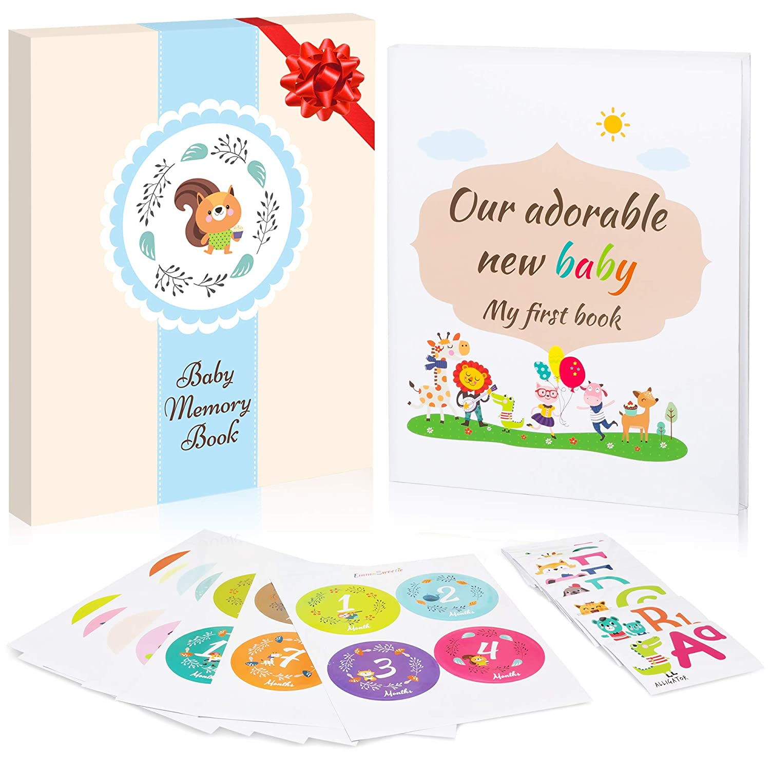 Baby Memory Book Blue Gift Box 28 Milestone Stickers. Capture Baby s First 5 Years of Milestones, Memories, Moments, Holidays, and Firsts in This 64-Page Journal Scrapbook by EmmaSweetie