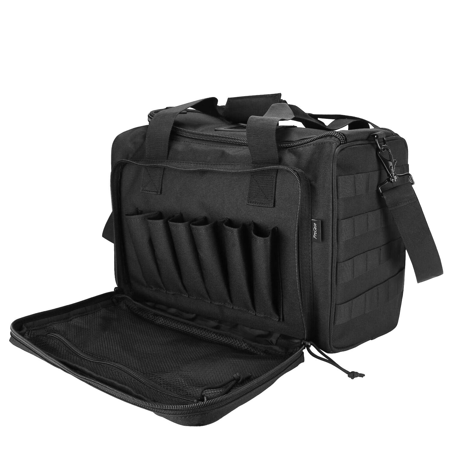 ProCase Tactical Gun Range Bag for Handguns, Pistols and Ammo, Large Shooting Range Duffle Bags for Magazine Shooting Gear Accessories for Hunting Shooting Range Sport Competetion -Black by ProCase