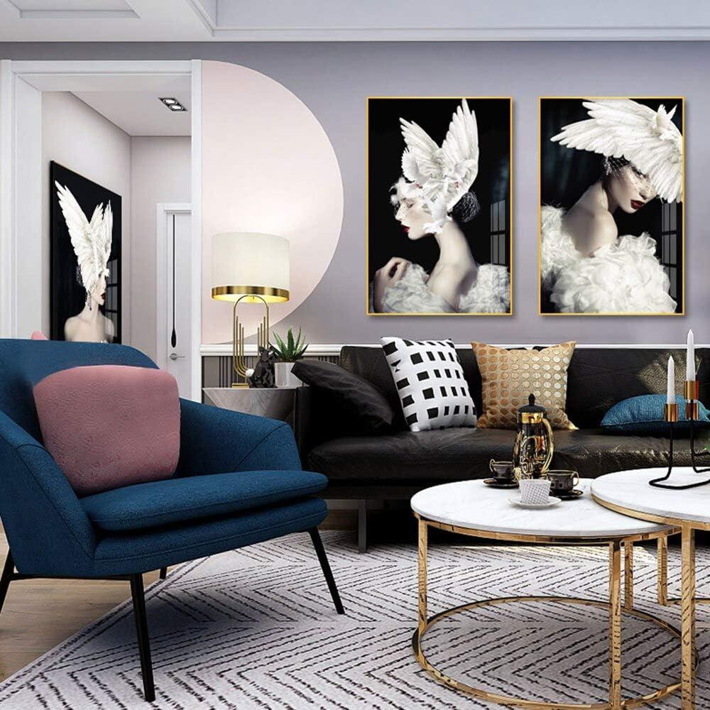 SDFSD Arte Abstracto Cartel Arte de la Pared Imágenes Moda Maquillaje Pelo Mujer Mariposa Paloma Pintura al óleo Lienzo Moderno Belleza Decoración para el hogar 80 * 120 cm