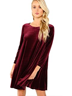 e86e7879c485 K S Women s New A-Line Loose Crewneck Print Casual Velvet Dress ...