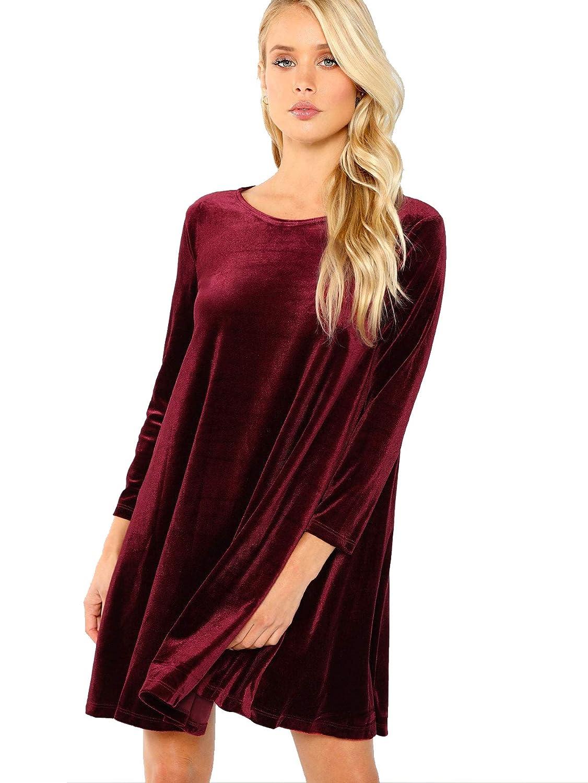 7929ed832e2 Verdusa Women s Velvet Swing Dress Long Sleeve Round Neck Shift Tunic Dress  at Amazon Women s Clothing store