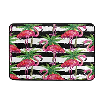 Ffy Go Ffy Badteppich Flamingo Palm Leaf Print Rutschfeste Anti