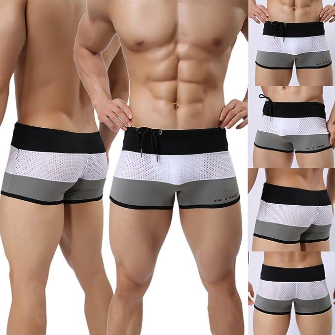 Mens Boxer Briefs Swimming Swim Shorts Trunks Swimwear Pants Underwear M L XL