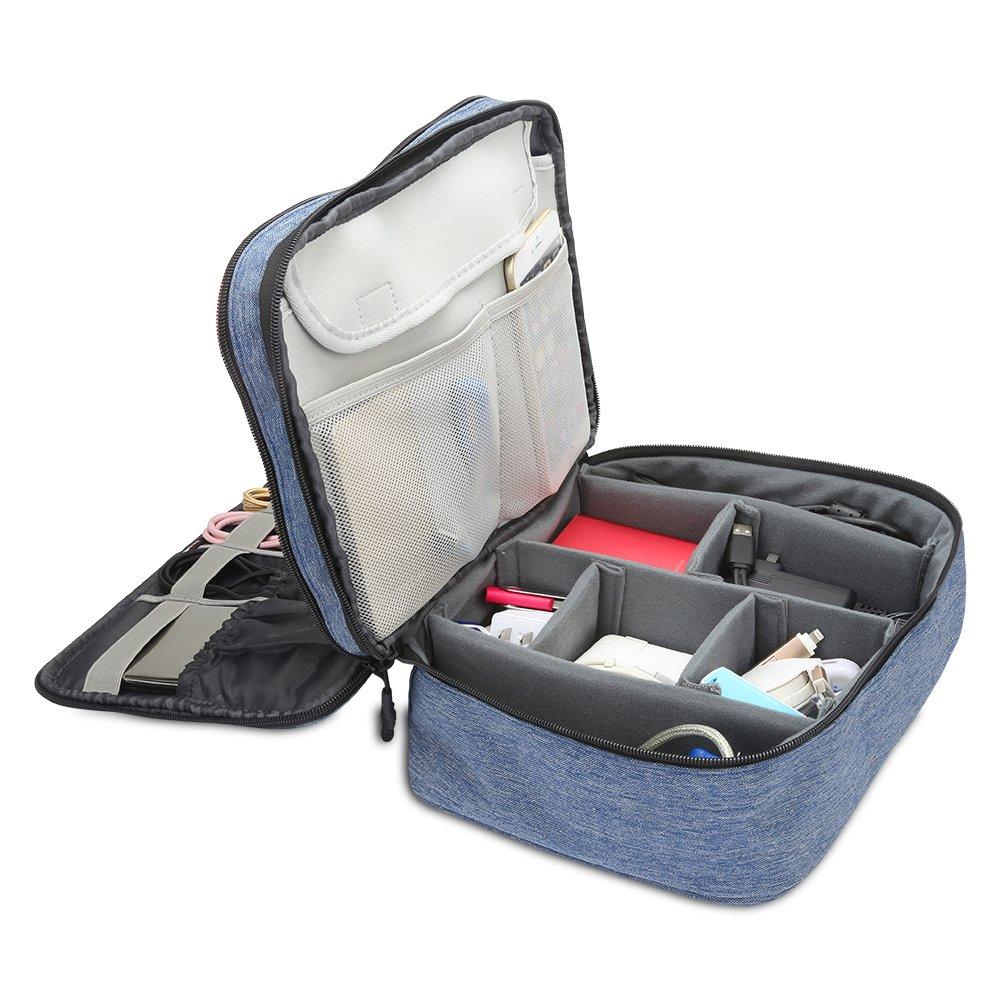Grande,Azul Oscuro BUBM Organizador para El/éctronica Estuche para iPad Pro 10.5 Pulgadas Bolsa de Cables Funda de Banter/ía Extra