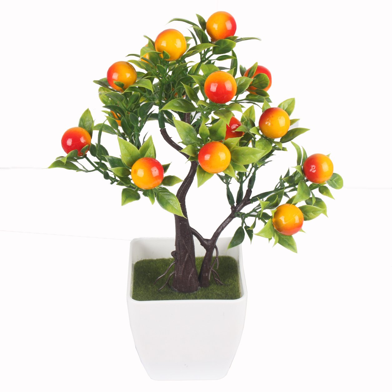 JAROWN Artificial Fruits Plants MINI Plastic Bonsai Lucky Tree Flowers for Home Office Table Decoration (Orange)