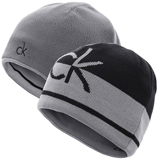 2f858c5ce Calvin Klein Men's CK Reversible Knit Beanie Hat - One Size - Black/Silver