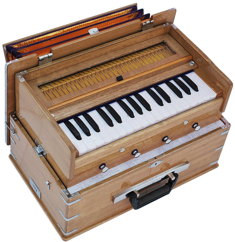 Safri Harmonium- 2¾ Octave By Kaayna Musicals-Portable, Traveler, Baja, 4 Stops (2 Drone), Two Set Reed- Bass/Male, Teak Color, Gig Bag, Tuning: 440 Hz, Suitable for Yoga, Bhajan, Kirtan, Mantra, etc by Kaayna Musicals (Image #2)