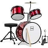 Best Choice Products Kids Beginner 3-Piece Drum Set, Junior Size Musical Instrument Practice Kit w/ Sticks, Cushioned Stool,