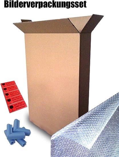 KartonProfis - Cajas de cartón para cuadros (5 unidades, 750 x 120 x 1000 mm, incluye material de embalaje, protector de bordes y lámina de burbuja): Amazon.es: Oficina y papelería