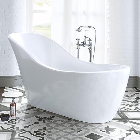 1520 Mm Modern White Slipper Bathtub Freestanding Designer Bath With Waste