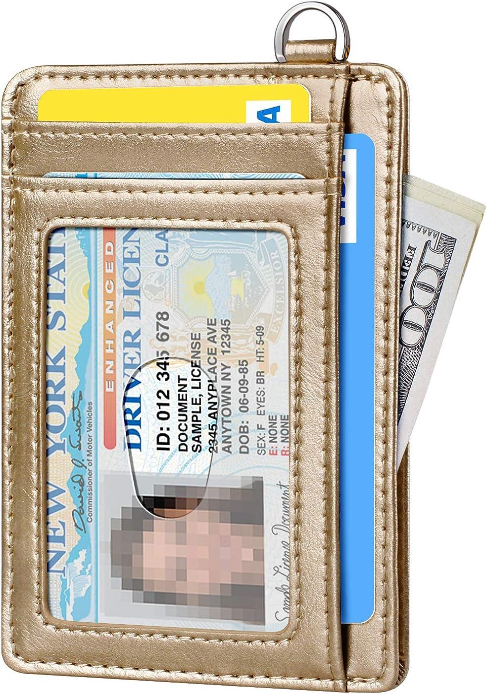 poche avant porte-cartes de cr/édit avec anse en D blocage RFID FurArt Portefeuille fin minimaliste
