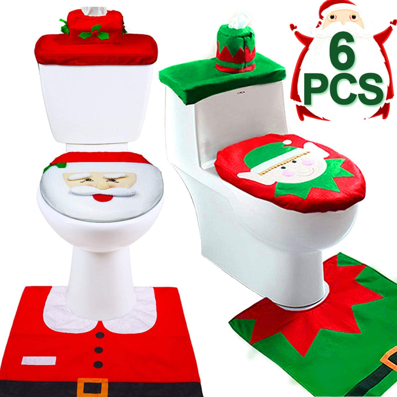 6 Pieces Christmas Toilet Seat Cover Decorations, Christmas Santa Elf Toilet Seat Cover and Rug Set Christmas Bathroom Decor Xmas Home Indoor Decor