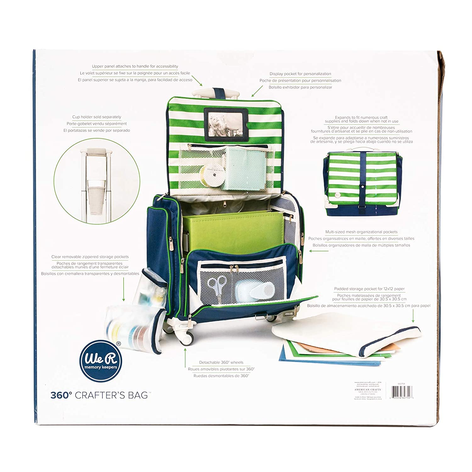 Amazon.com: 360-Degree Fold Up Crafters Bag by We R Memory Keepers | Navy & Green