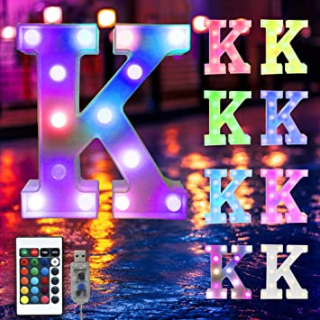 16 Color Changing Marquee Letter Light,Light Up Colorful 26 Alphabet Signs – Home Decor Name Signs – USB Powered LED Remote Timer – Lighted Vintage Accessories & Decorations-K
