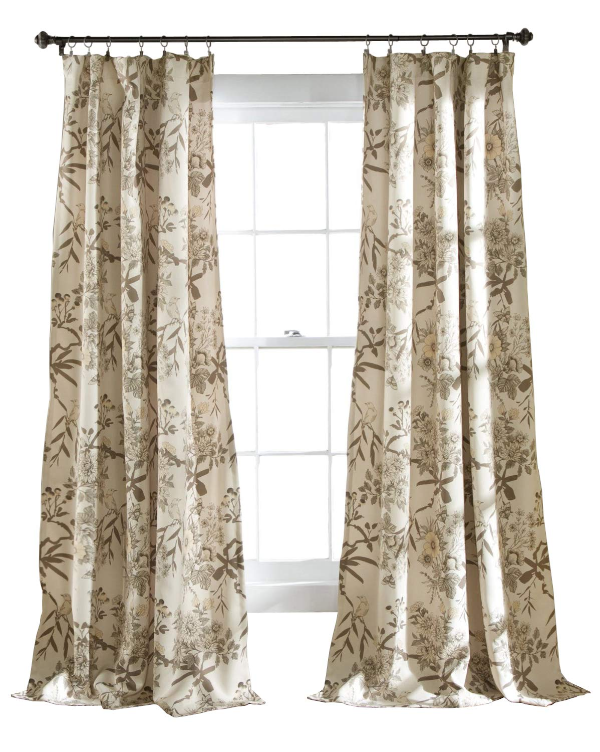 "Lush Decor Botanical Garden Window Panel Set, 84"" x 52"", Beige - The simple Floral pattern with the bird window panels is the perfect addition to any room Room darkening, energy efficient, set of two curtains Made in China - living-room-soft-furnishings, living-room, draperies-curtains-shades - 71Gd43LzKGL -"