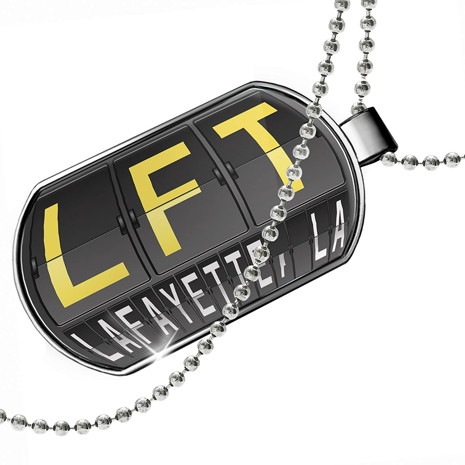 NEONBLOND Personalized Name Engraved LFT Airport Code for Lafayette La Dogtag Necklace