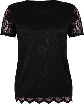 Black Short Sleeve Scoop Neck Lace Detail Top Plus Size