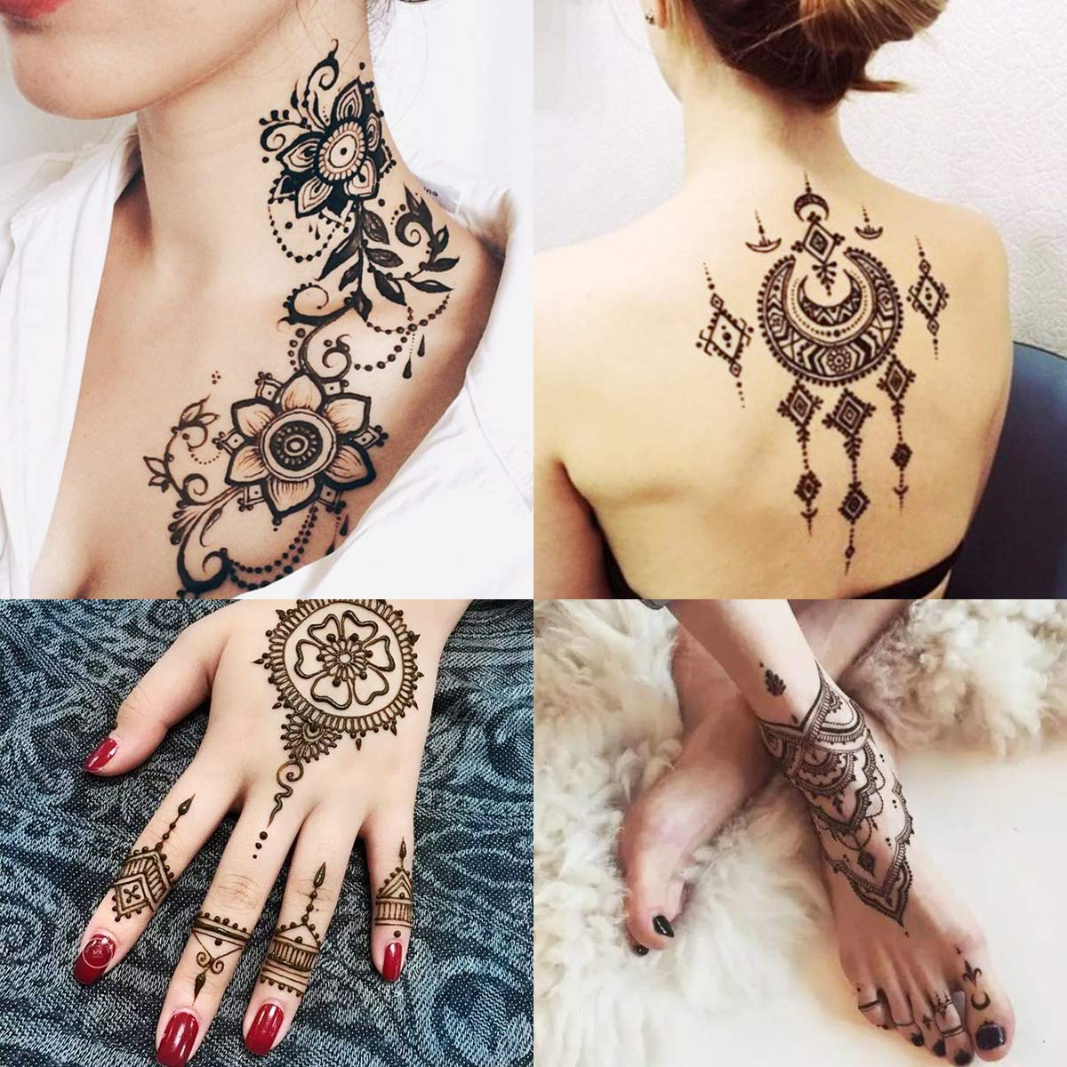 SKYMORE Temporary Tattoo Kit, Conical Temporary Art Tattoos Painting, 20 pcs Free Adhesive Stencils by SKYMORE (Image #2)