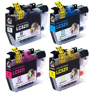 AUBEN LC3211 LC3213 Cartuchos de Tinta 4 Reemplazo para Brother LC-3211 LC-3213 Compatible con Brother DCP-J572DW MFC-J491DW MFC-J497DW DCP-J772DW ...