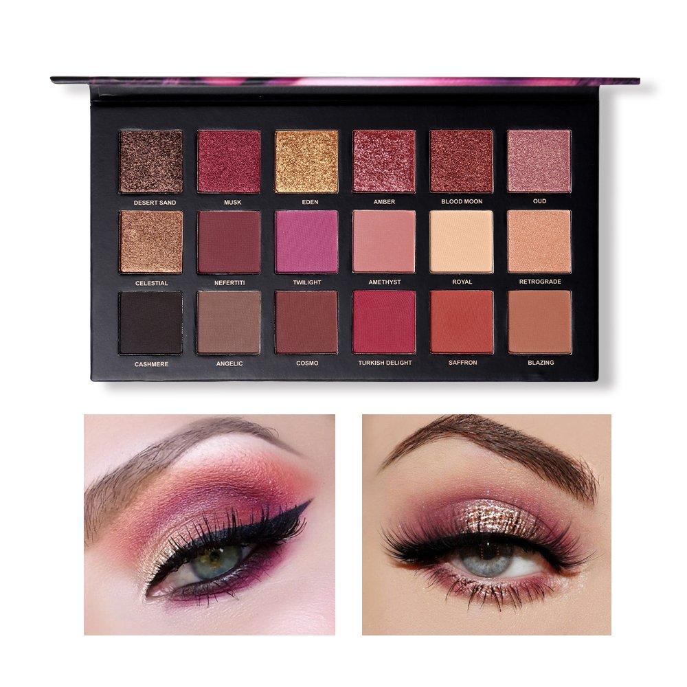 Eyeshadow Palette, Shouhengda Matte Eyeshadow Palette & Glitter Eyeshadow 18 Colors Combination Smoky with Shimmer Eyeshadow Twilight & Dusk Makeup Palette Cosmetics by Shouhengda (Image #3)