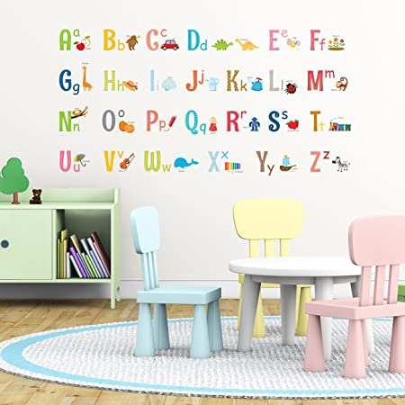 Decowall dw 1701s alphabet with pictures kids wall stickers wall decals peel and stick removable