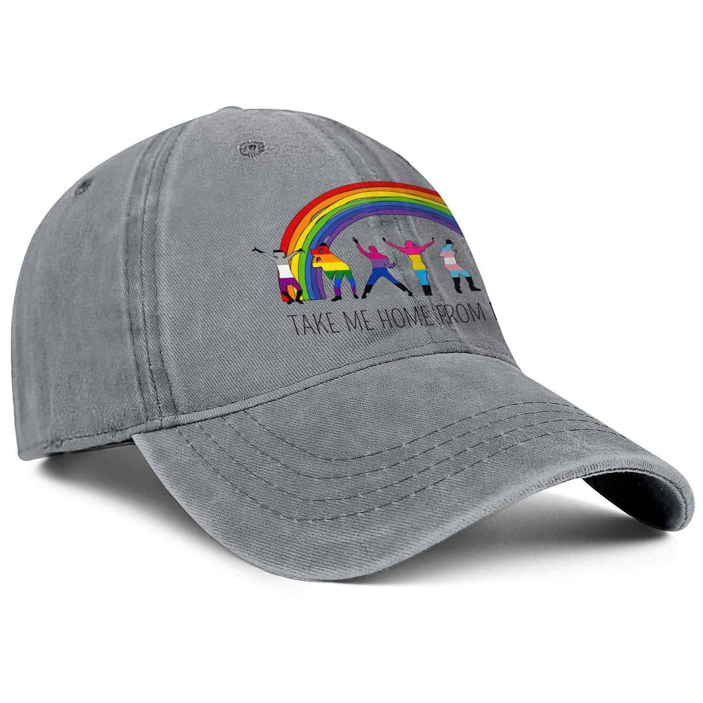 Trucker Caps for Man Drawn Rainbow Tumblr Overlay Adjustable Daily Use Mesh Hats
