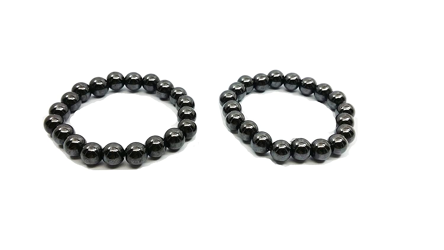 10 mm one pair of Hematite Powerful Magnetic Bracelet for Arthritis Pain Releif or for Sports Related Therapy or for antidepression