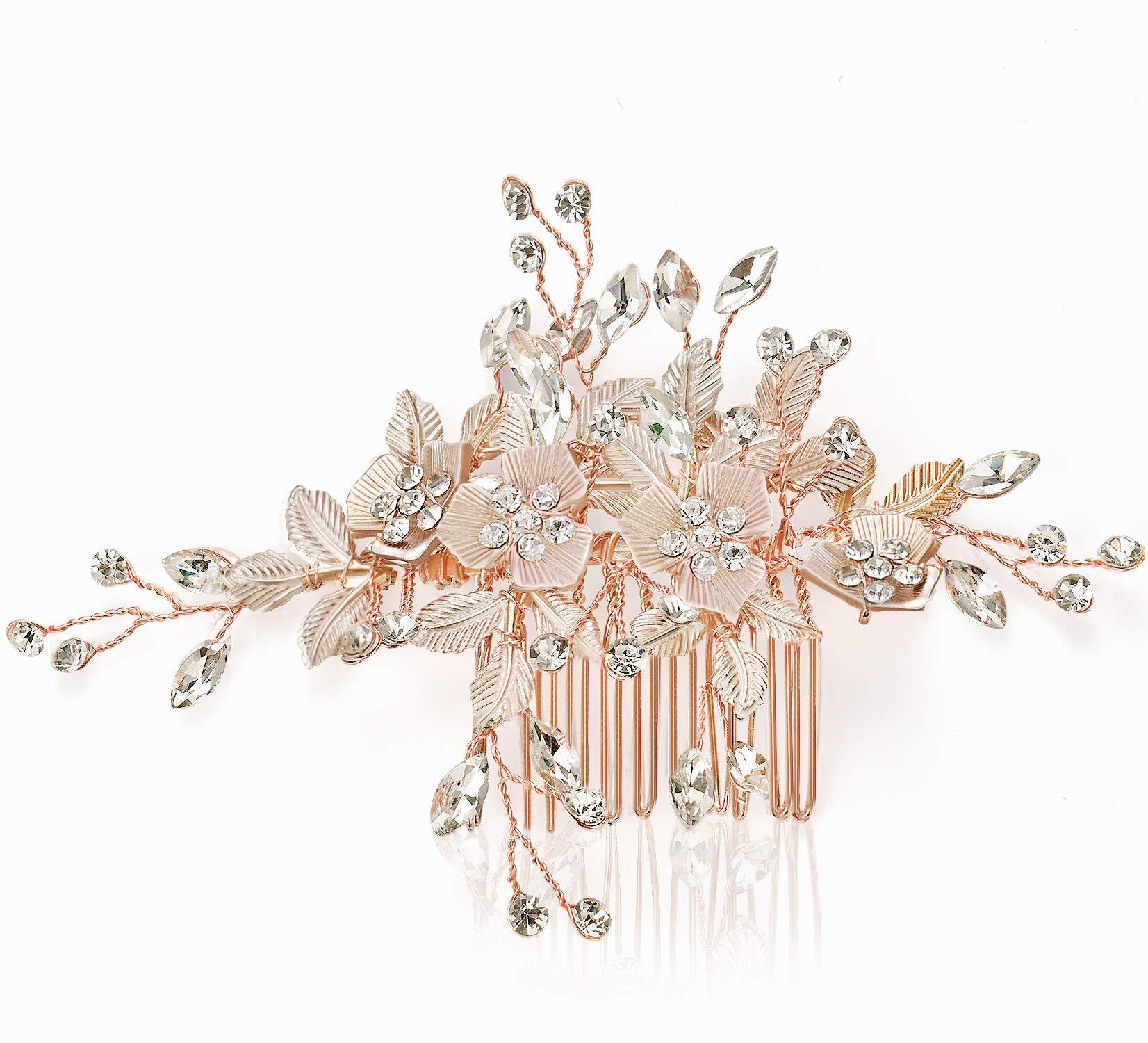 JOYPEA Hair Side Combs Rose Gold, Tiara Comb Clip Rhinestone,Bridal Combs Wedding Clip Hair Comb Flower CombsForWomen by JOYPEA