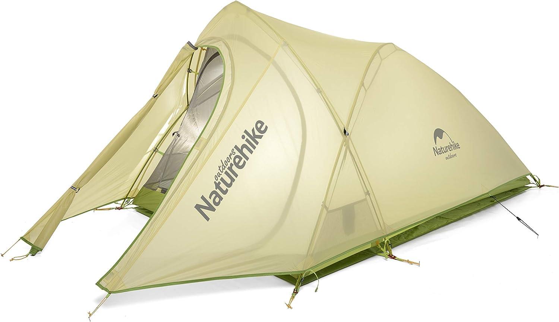 Naturehike公式ショップ テント 超軽量 キャンプ アウトドア 20Dチェック柄のナイロン PU防水4000mm 登山テント ツーリングテント [2人用](専用グランドシート付) グリーン