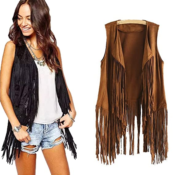 Women Open-Front Faux Suede Sleeveless Tassels Vest Cardigan Female