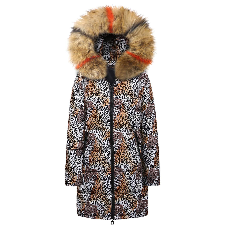 Khaki I'll NEVER BE HER Womens Winter Long Down Cotton Leopard Print Hooded Coat et Outwear Long Sleeves