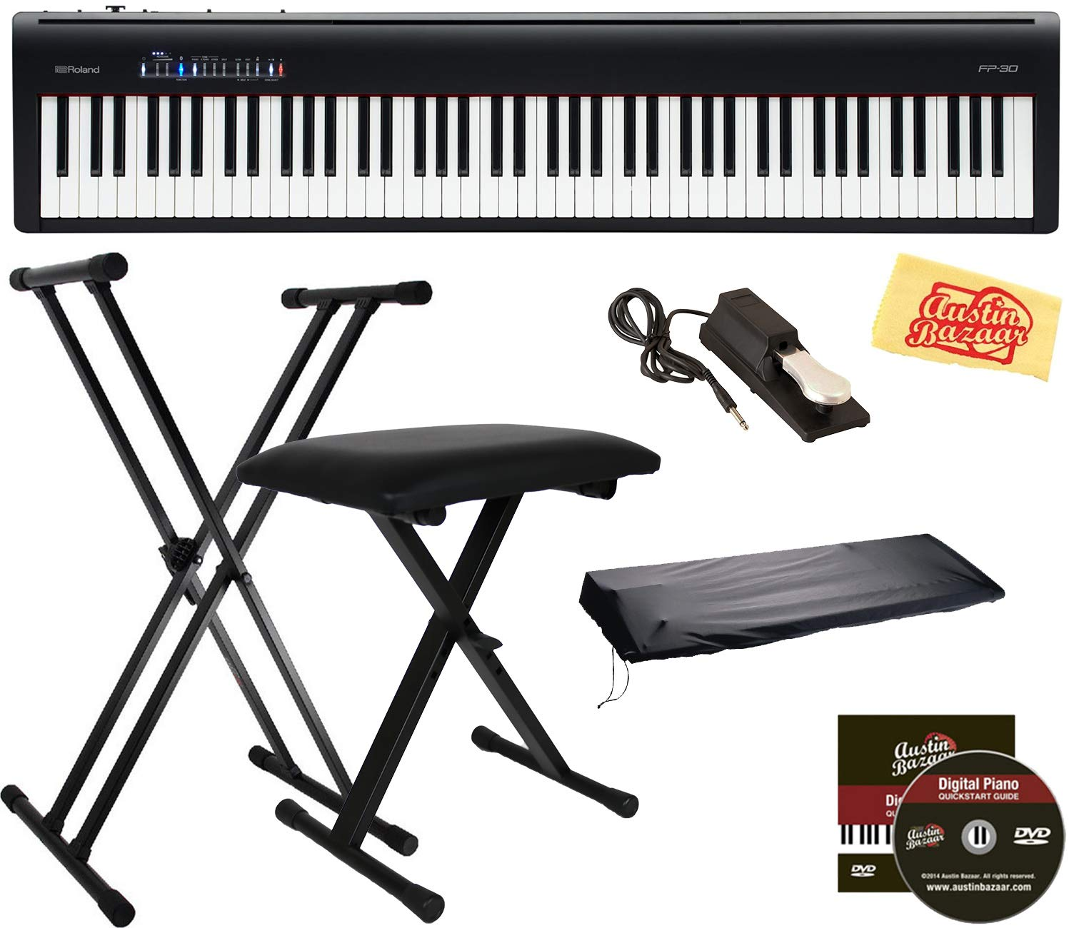 Encarguelo Com Roland Fp 30 Digital Piano Black Bundle With Roland Dp 10 Damper Pedal Adjustable Stand Bench Dust Cover Austin Bazaar Instructional Dvd And Polishing Cloth