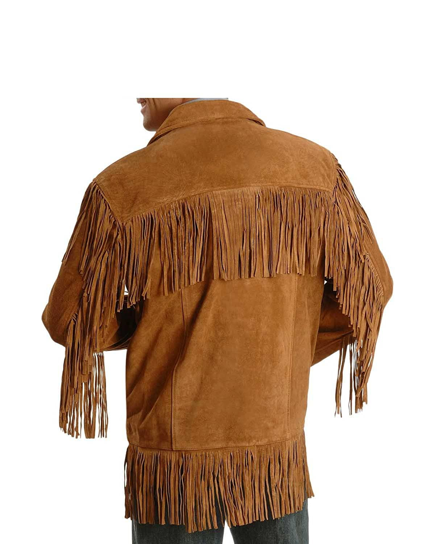 0d8e9a33879f Men Western Fringe Jackets Men Brown Fringe Jacket Men Cow Boy Suede Jacket  at Amazon Men s Clothing store
