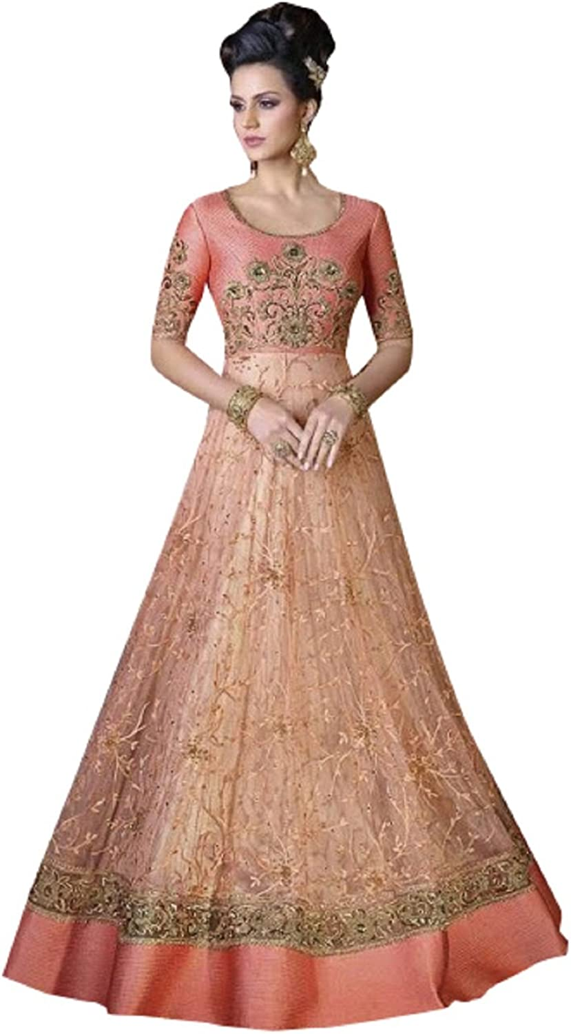 Amazon Com Designer Party Wear Gown Long Dress Bollywood Indian Ethnic Wedding Women Muslim Bridal Embroidery Zari Work 640 Peach Clothing,Princess Wedding Dresses With Long Trains And Veils