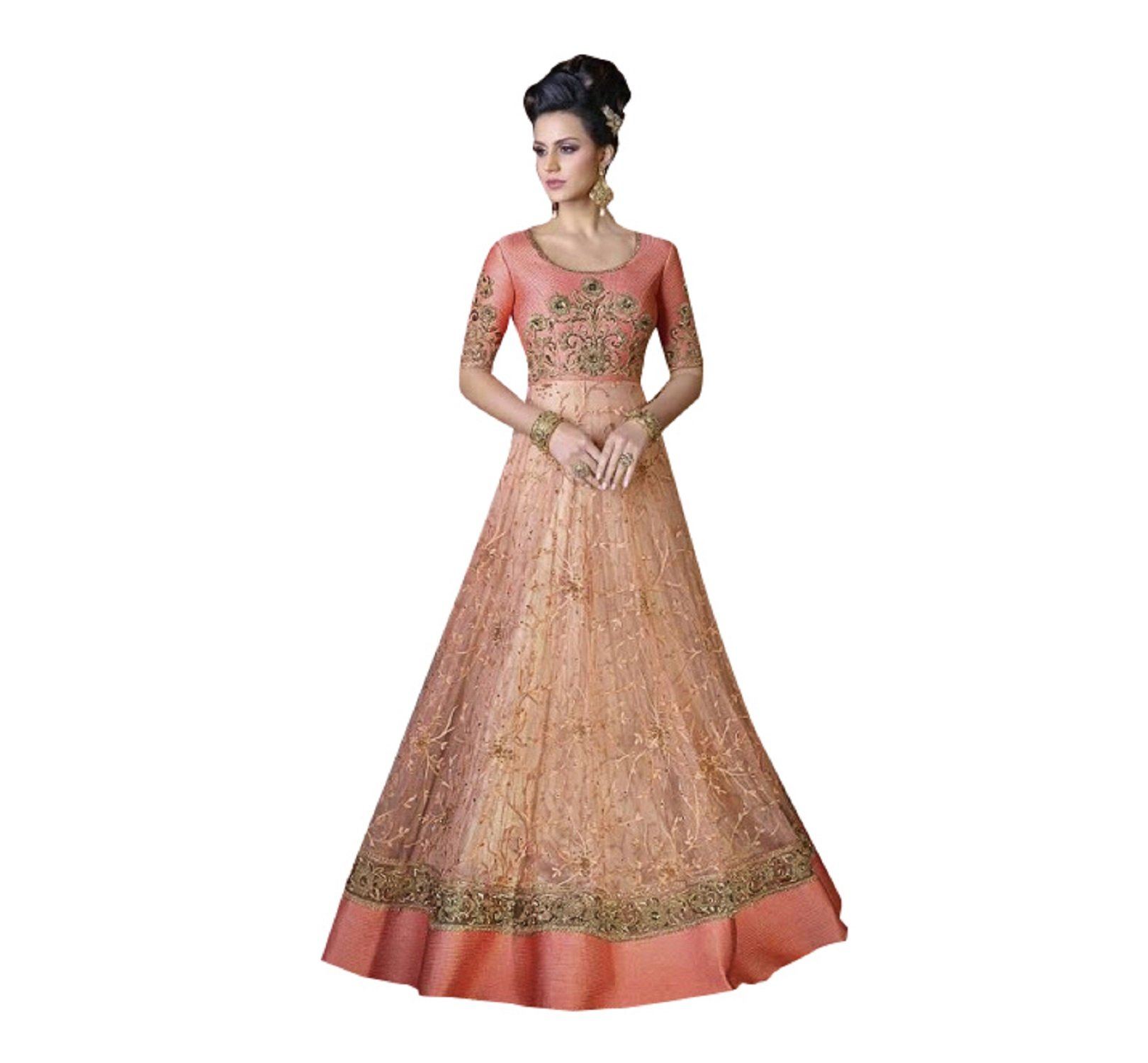 Designer Party Wear Gown Long Dress Bollywood Indian Ethnic Wedding Women Muslim Bridal Embroidery Zari Work 640 (Peach)