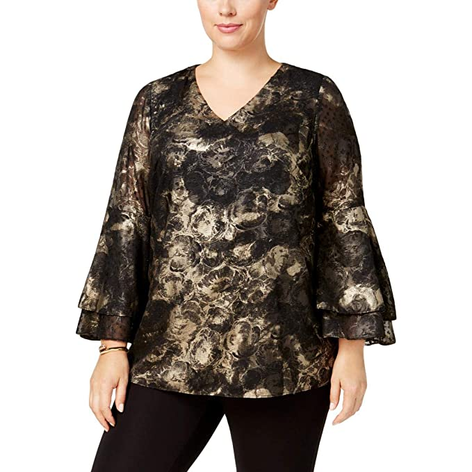 dd82e86430c Alfani Womens Plus Metallic Poet Sleeve Pullover Top Black 2X at ...