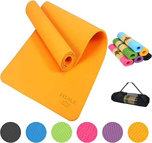TWJH Thick Yoga Mat Classic 6mm Thick Yoga Mat Non-Slip Exercise Fitness Mat with Carrying Strap for All Types of Yoga Exercise and Pilates 72 x 24 x 1 4 Inch Thick