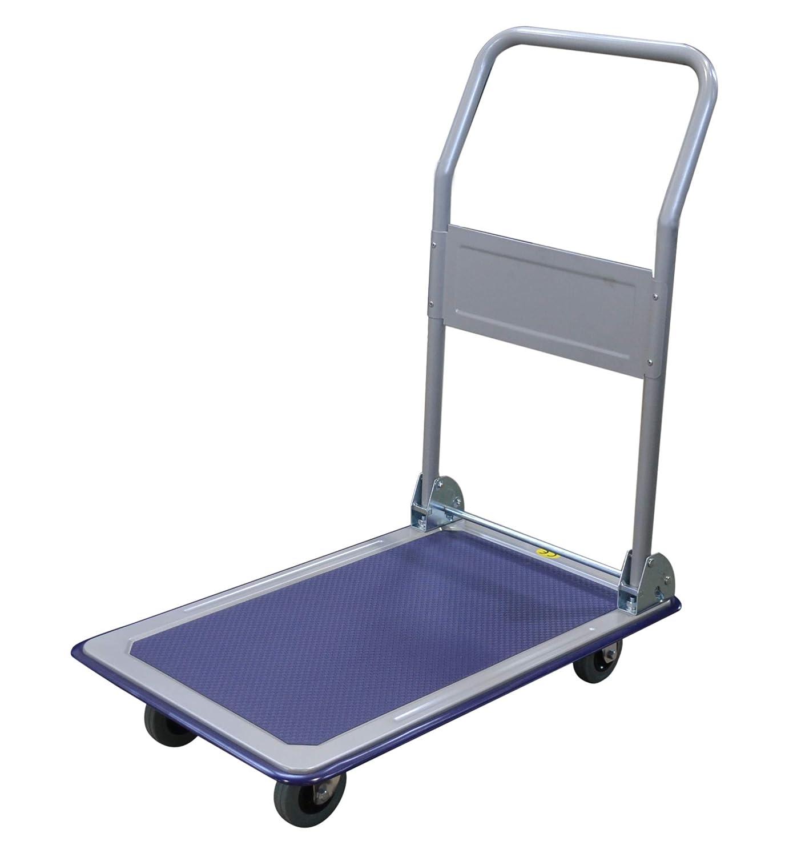 T-EQUIP PFW-150R - Carro de plataforma plegable con revestimiento antideslizante, capacidad 150 kg, carro de transporte, carro de mano, carrito, color plateado y azul