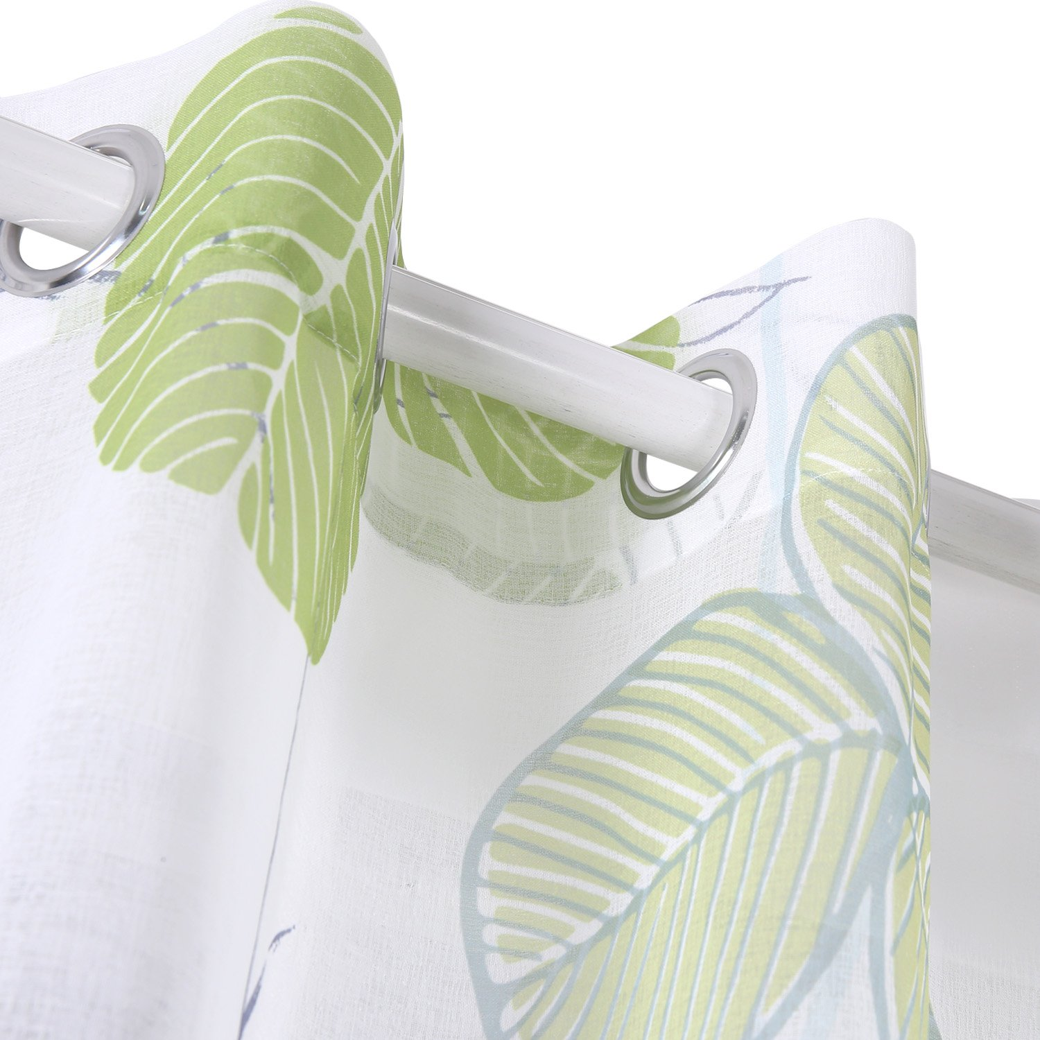 Green Deconovo Sheer Curtain with Leaves Clover Sheer Print Window Curtains Sheer Linen Curtains