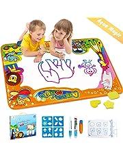 EpochAir Kids Baby Toddler Wasser Zeichnen Matte Toy mit 2 Stiftes, 86 x 57cm, 1 Bürste und Ziehformen Aqua Drawing Painting Mat mit 6 Colors Spielzeug für Kinder Mädchen Jungen Educational Gift