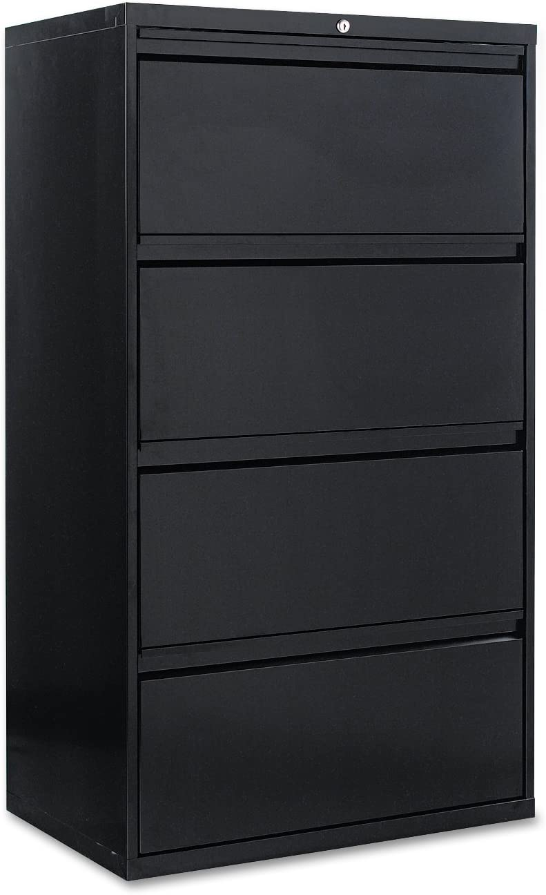 Alera 4 Drawer Lateral File Cabinet 30 By 19 1 4 By 54 Inch Black Furniture Decor Amazon Com