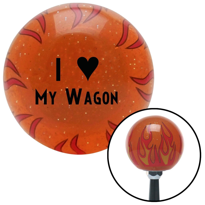 Black I 3 My Wagon American Shifter 253980 Orange Flame Metal Flake Shift Knob with M16 x 1.5 Insert