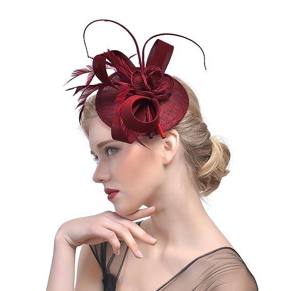 dressfan Elegante cappello Fascinator Piuma esh cappello piccolo copricapo  partito banchetto sposa ornamenti per capelli  Amazon.it  Abbigliamento 1b2d1dc7cfe2