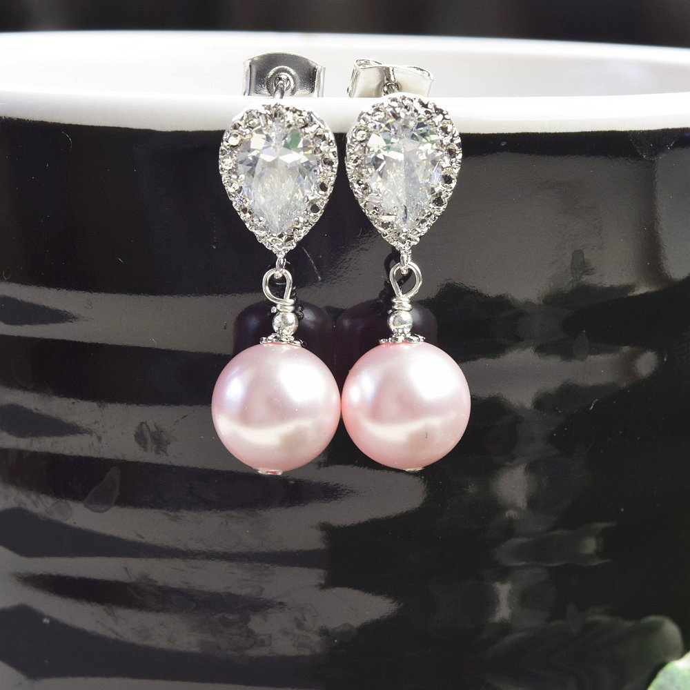 Amazon Com Pink Pearl Drop Earrings Swarovski Silver Post