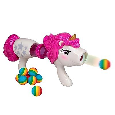 Hog Wild Unicorn Power Popper - Rapid Fire Rainbow Blaster Gun - Shoots Up to 8 Foam Balls - 4+: Toys & Games